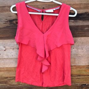 Anthropologie | Deletta Pink Ruffled Blouse Medium